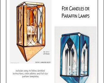 Stained Glass PDF E-Pattern Tutorial, Candle Sconces