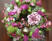 Vibrant pink and green deco mesh Spring Wreath