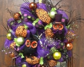 Whimsical His and Her Owl Halloween Wreath