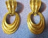 1980s Large Door Knocker Earrings Avon, Gold tone. Super big Clip style