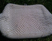Formal bag with whilte bead work and rhinestone snap closer