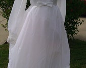 SOLD  60s wedding dress in a victorian style with lace on bodice, sleeves and hem  SOLD