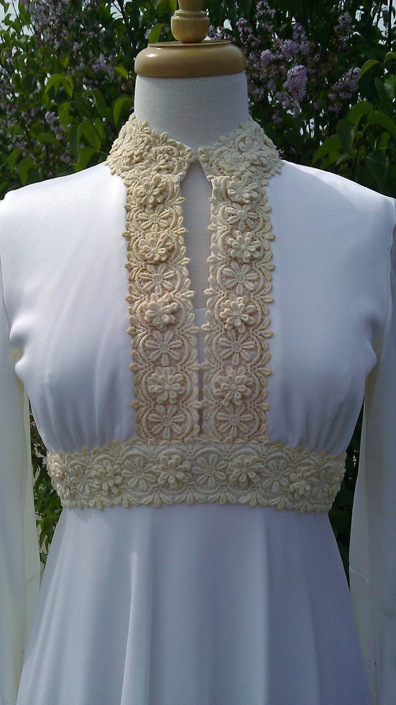 SALE Vintage 1960s Wedding dress with 5 foot train and lace trim.SALE was 85