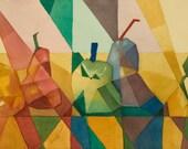 "Harlequin Pears - Original Painting  14"" X 22"""