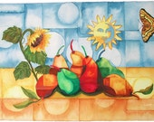 Fruits and Sunflower, Still Life with Butterfly,WATERCOLOR PAINTING, pears fruit Kitchen Art
