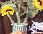 Southwestern card, Sunflowers, Gourd, Indian Corn, ACRYLIC PAINTING, Yellow, browns, contemporary