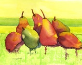 Fruits, Still Life, Pears, Bright, Juicy, collage, contemporary, WATERCOLOR/COLLAGE PAINTING, Bold, Colorful, Summer, Kitchen Art