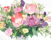 Flower Bouquet, Tulips, Roses, Lilacs, WATERCOLOR PAINTING, Still Life, green, pink, purple