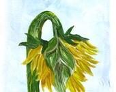 Sunlower, End of Summer, Yellow, Green, ORIGINAL MONOPRINT, Blue, Summer Sunflower