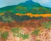 Georgia's Mountain- ORIGINAL WATERCOLOR/COLLAGE, Desert Contemporary collage art,  landscape collage, blue green, orange yellow