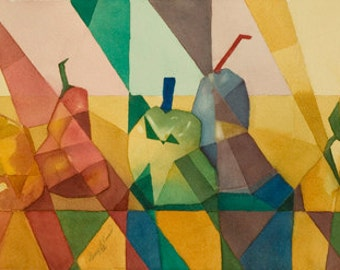 Abstract, Cubist painting,, fruits, Modern art, red, green yellow, blue, modern,WATERCOLOR PAINTING - Card
