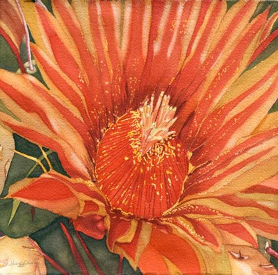 "BARREL CACTUS FLOWER,  8"" X 8"", Southwestern Art, Watercolor painting, Southwest Home, Southwest Floral, Housewarming gift"