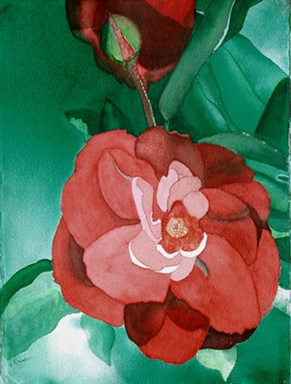 Rose, Deep Green, Red, White, ORIGINAL PAINTING, contemporary, Desert Rose, card