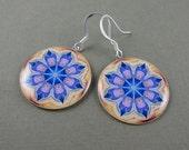 Blue Flower Kaleidoscope Earrings