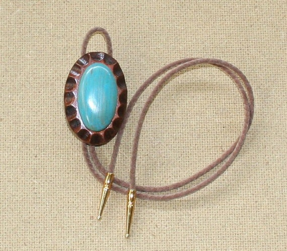 Handmade Wood Bolo Tie (Copper/Turquoise)