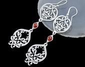 A whisper. long red silver lightweight earrings, herringbone, carnelian earrings, surgical stainless steel