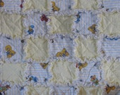 Rag Quilt with Striped Elmo, Big Bird, Sesame Street and Yellow  Cottons Security BlanketI