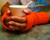 Handmade Orange Fingerless Gloves