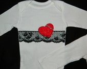 Baby Girl Onesie with Vintage Lace and Flower Heart embellished with Rhinestones