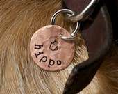 D2E hand stamped penny pet tag personalized ID name phone number