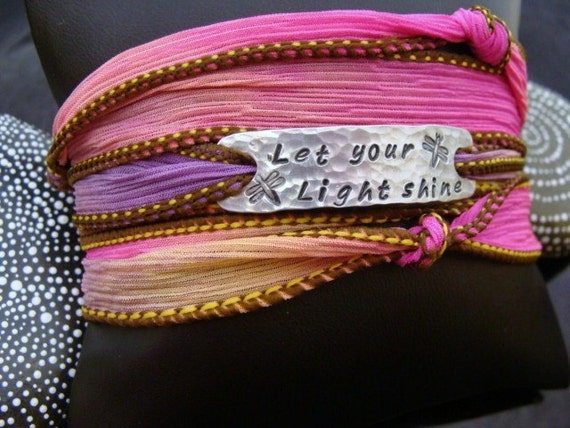 Let Your Light Shine - Yoga Wrap Bracelet - Dragonflies - via D2EGallery