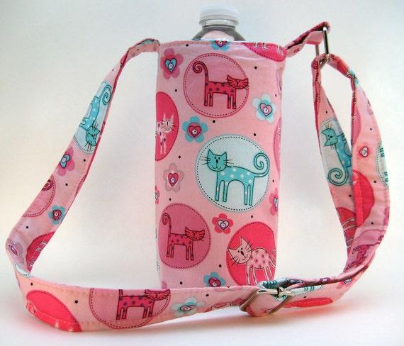 Water Bottle Holder - Pink Kittens Adjustable Water Bottle Bag