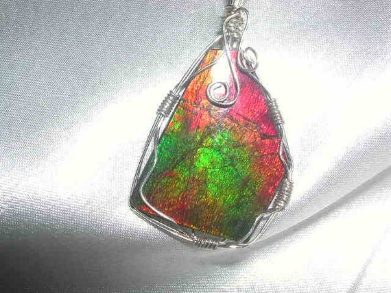 Ammolite and Sterling Silver Pendant with chain