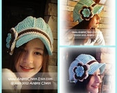 READY TO SHIP Crochet Flower Newsboy Style Hat Beanie with Brim - Aquamarine, Ecru, and White Size Teen/Adult by AngelsChest