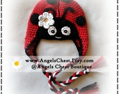 Cute Lady Bug Hat Crochet Earflap Hat PROP Photography - Girl Sizes Teen to Adult by AngelsChest
