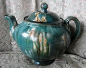 Vintage Teal Drip Glaze Teapot with Metallic Interior