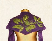 Purple scarf, baktus, handmade, with olive felted flowers in mohair and merino