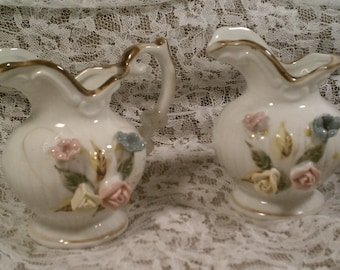 Vintage Ceramic Pitchers or Creamers with Porcelain Roses by Brinn's Set of TWO