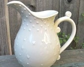 Vintage White Pitcher Cottage, Shabby Chic Pitcher