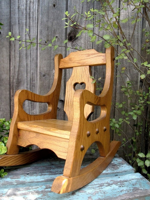 Vintage Doll Rocking Chair Oak Handmade Childs Toy