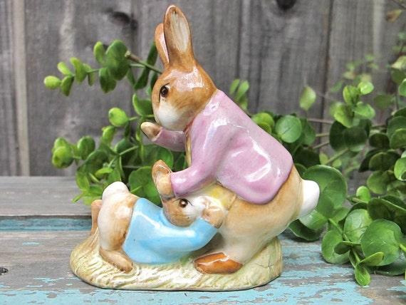 Vintage Beatrix Potter Figurine Benjamin Bunny and Peter Rabbit 1975  Bp3b