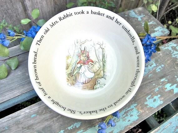 Vintage Childs Bowl Beatrix Potter Bowl Peter Rabbit Collectible Wedgwood Porcelain - Epsteam