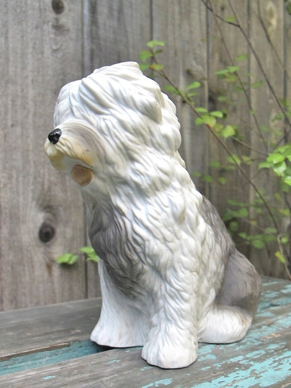 Vintage Dog Figurine Old English Sheepdog Figurine Collectible