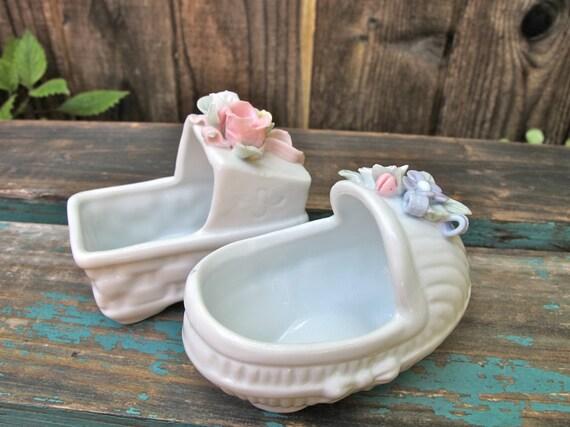 ON HOLD for Carolyn:  Vintage Porcelain Cradles,  Baby Planters Porcelain Mini  set of 2