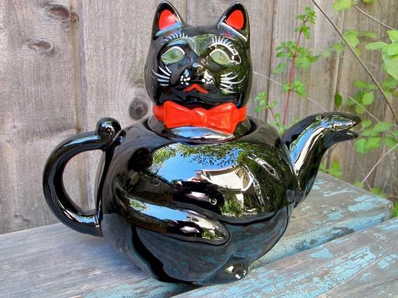 Vintage Black Cat Teapot Shafford 1950s RedWare Japan