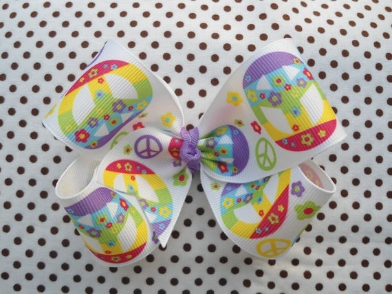 SALE Bright Colored Rainbow, Flowers, Peace Signs, Single Layer Boutique Hairbow -Ready To Ship-