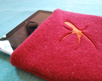 Red Wool Ipad Cozy with Reverse Applique Design