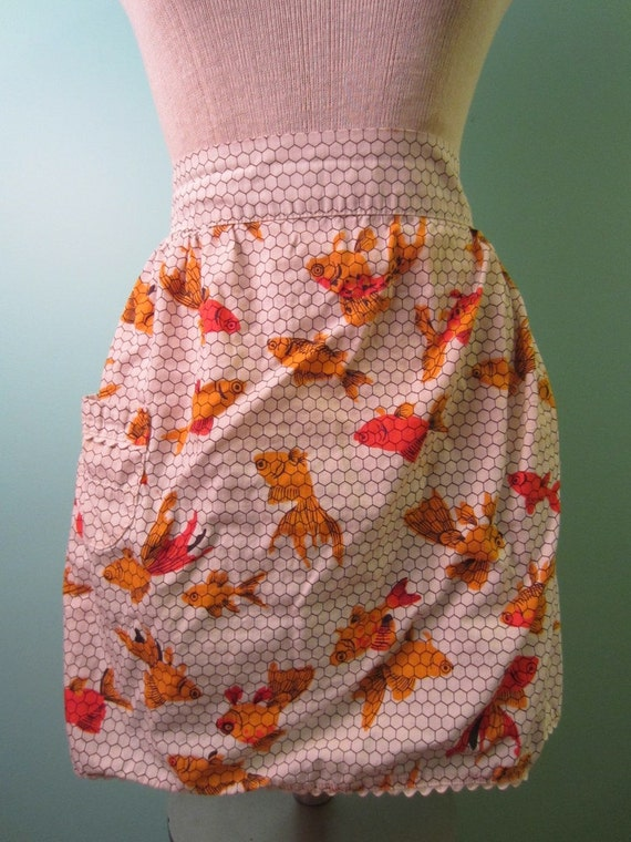 SALE 30% OFF 60's Geometric Goldfish Koi Half Apron with Hexagonal Design, Trimmed with Ric-Rac