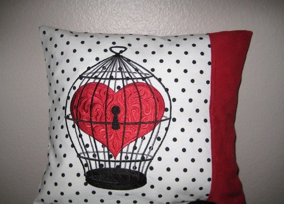 Bird Cage Heart  Pillow