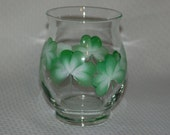 Hand Painted Glass Hurricane Shape Shamrocks