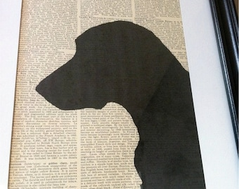 SALE - Labrador Lab Retriever Silhouette on Vintage Encyclopedia Page