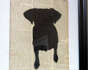 SALE - Jack Russell Terrier Silhouette on Vintage Encyclopedia Page
