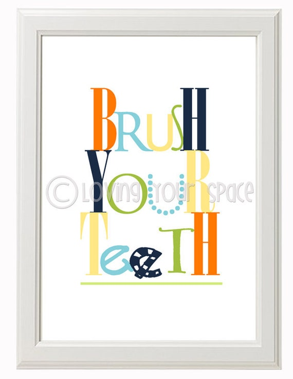 Bathroom Wall Decor Etsy : Items similar to printable kids bathroom wall art set of
