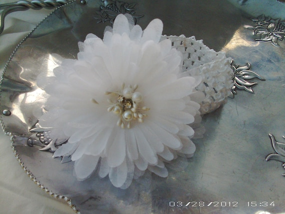 Headband - White on White Flower with Bling Center on Crochet Headband - Christening, 1st Communion, Holiday, Wedding, Photo Prop