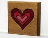 Woodburned Block Heart decorative wall art