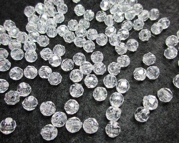 100pcs Clear Crystal Faceted Round Acrylic Beads, 7mm